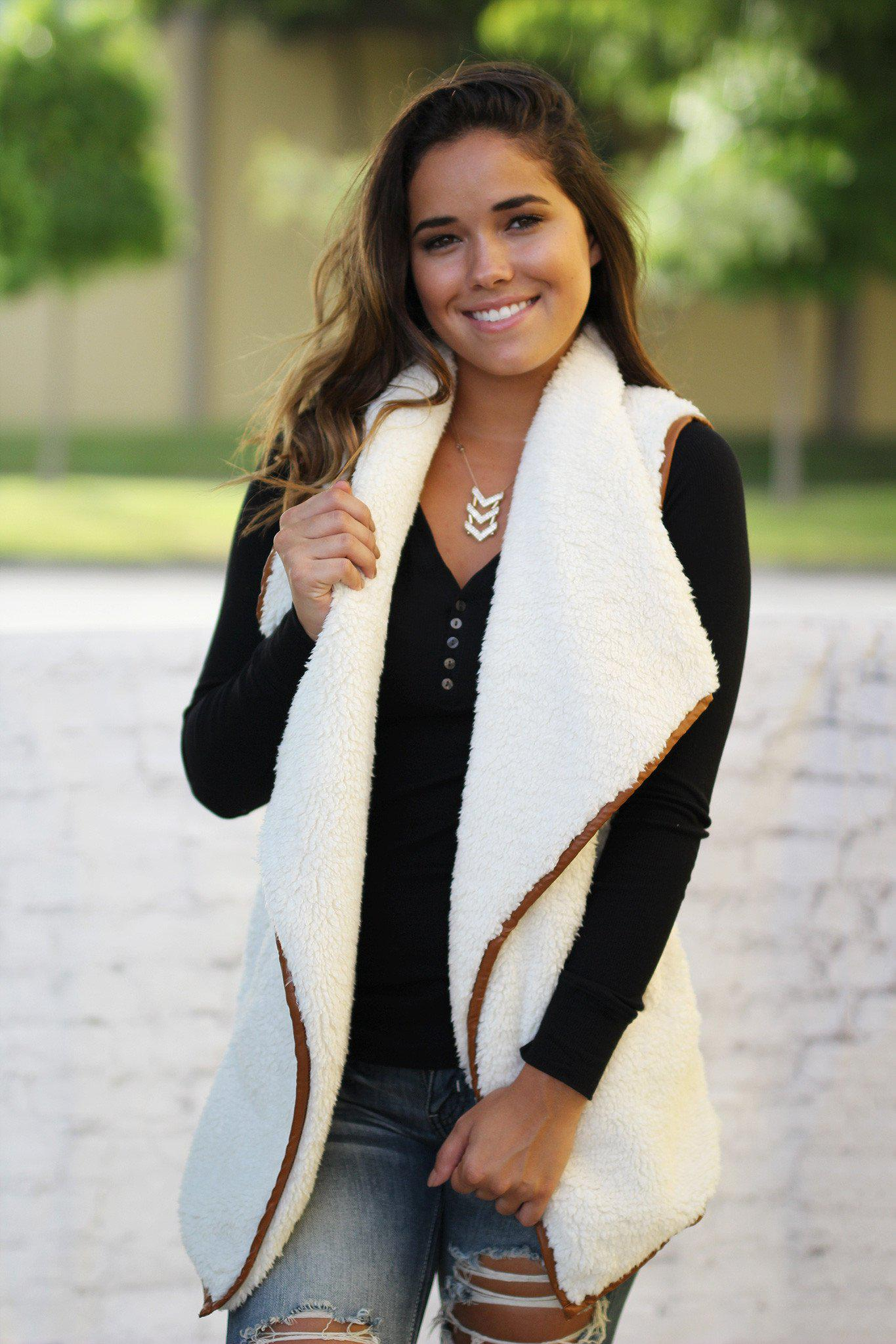 ivory sleeveless cardigan
