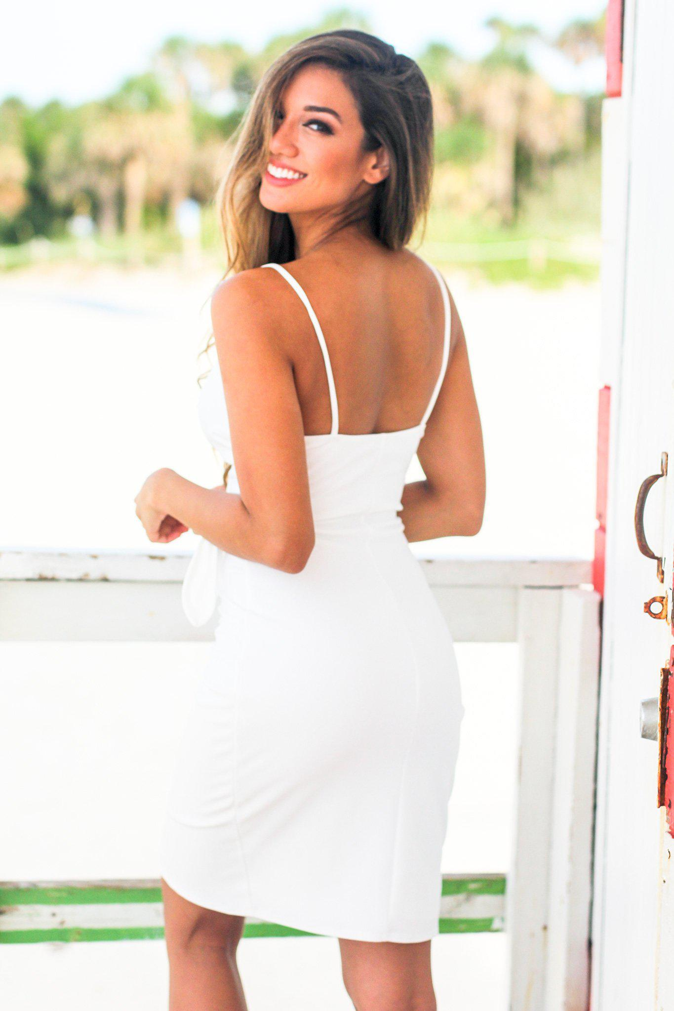 Ivory Wrap Short Dress