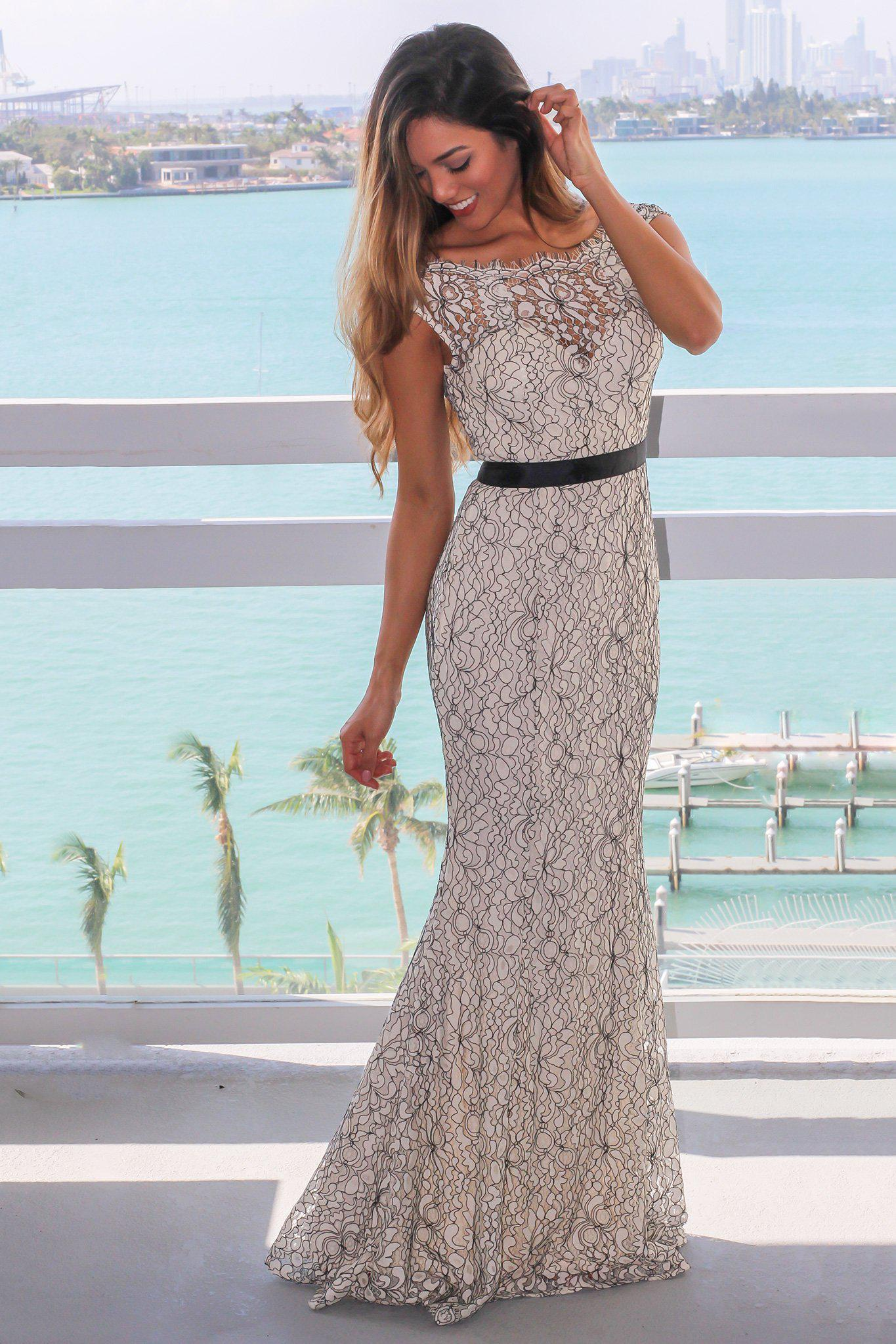 e223f8a0ac7 Ivory and Black Lace Maxi Dress