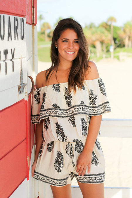 Ivory and Black Off Shoulder Romper