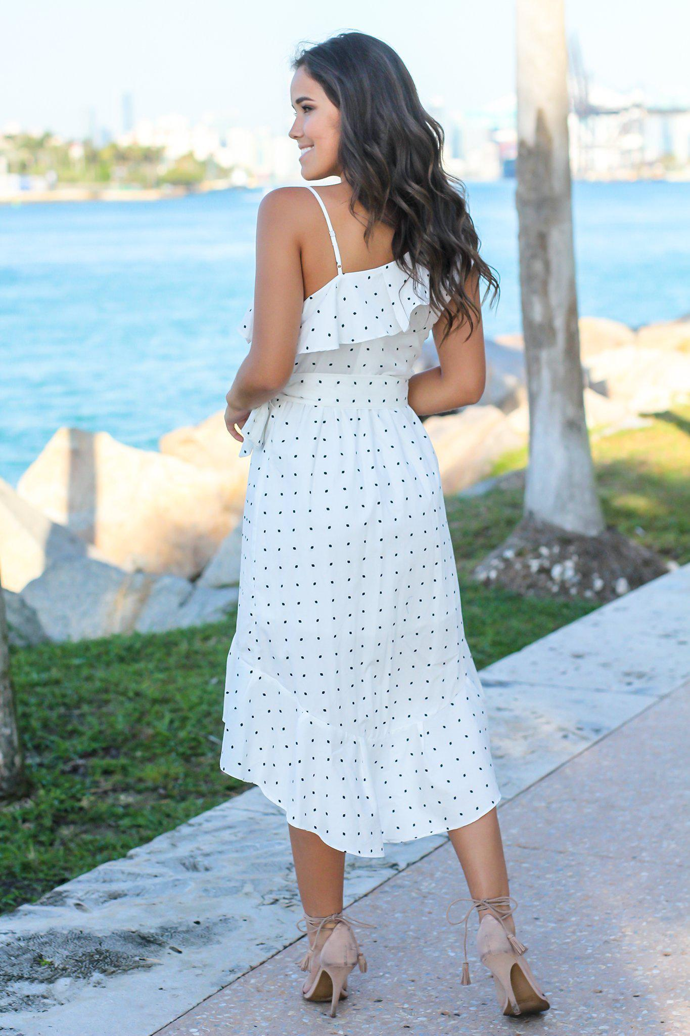 Ivory and Black Polka Dot High Low Dress