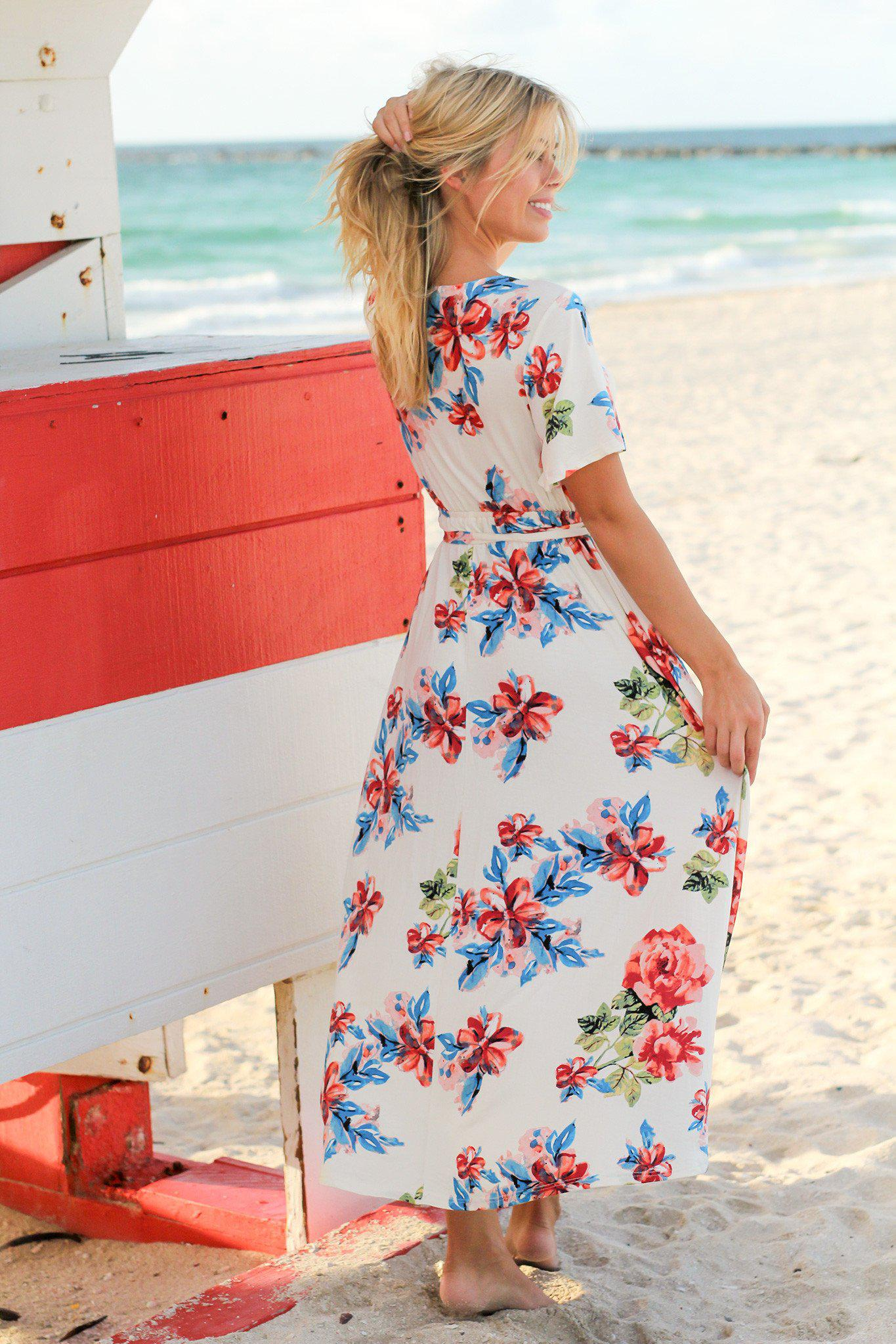 Ivory and Blue Floral High Low Dress