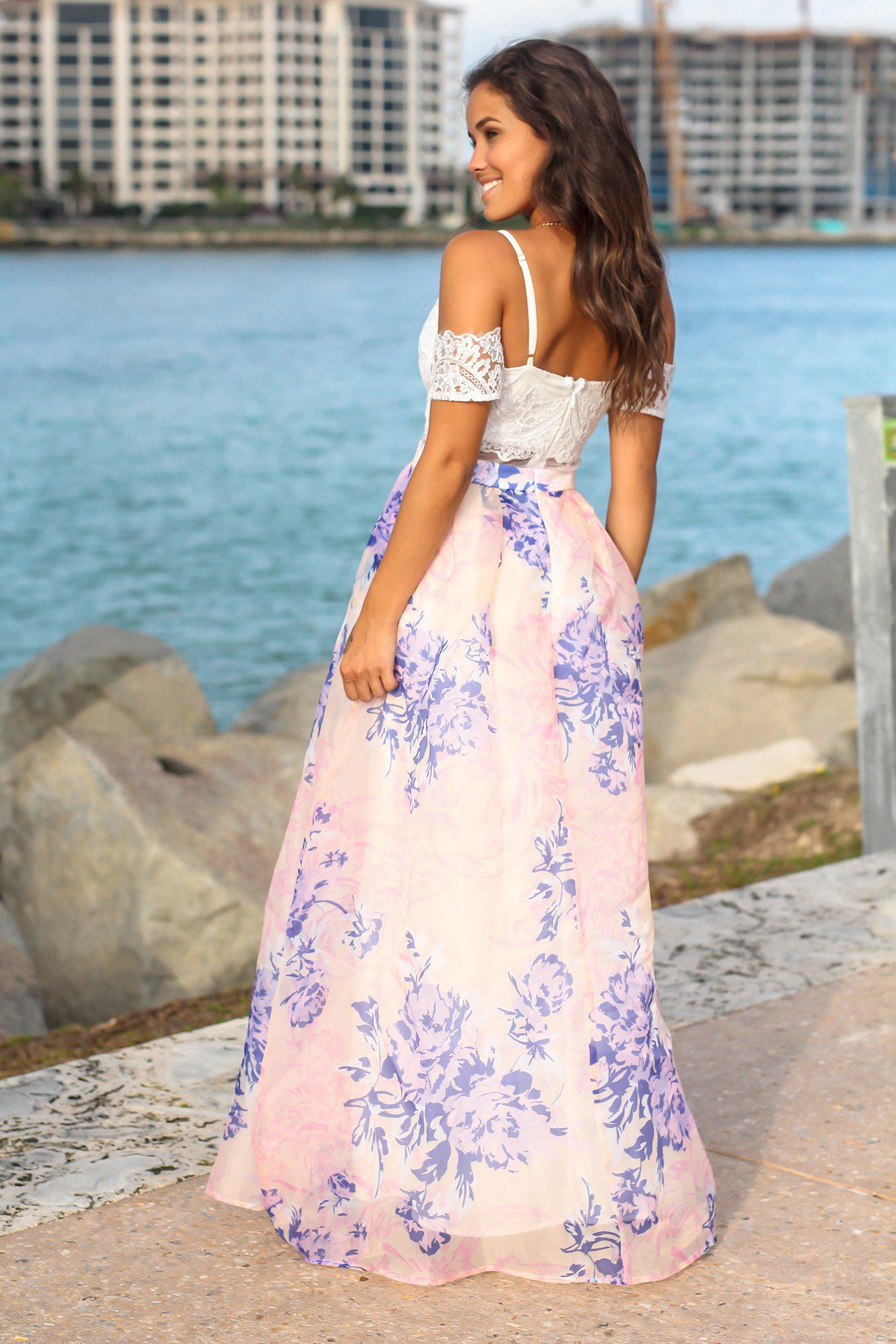 Ivory and Blue Floral Maxi Dress