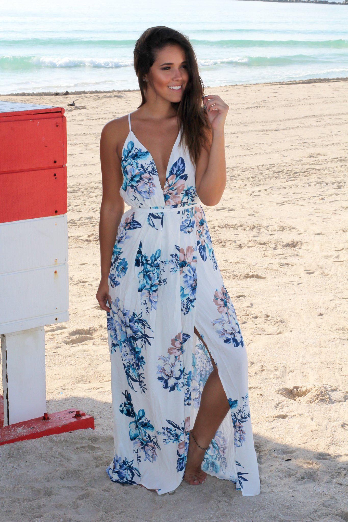 Ivory and Blue Floral Maxi Dress with Criss Cross Back