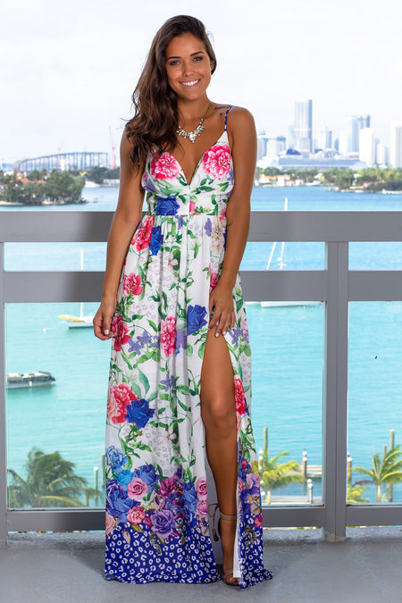 Ivory and Blue Floral Maxi Dress with Side Slit