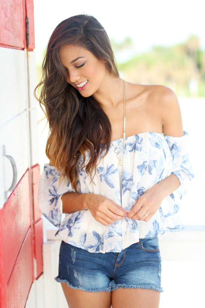ivory and blue floral off shoulder top