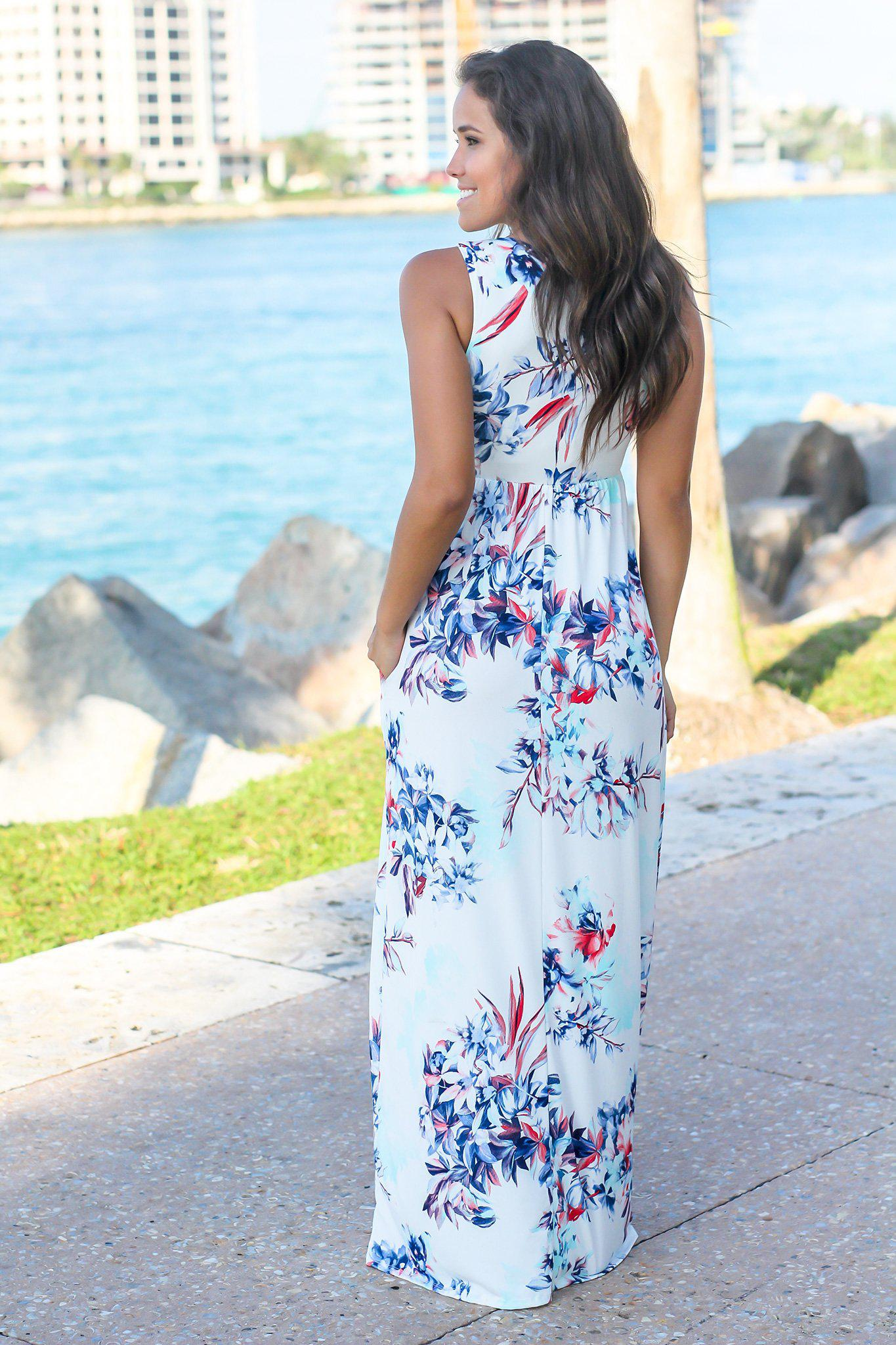 Ivory and Blue Floral Racerback Maxi Dress