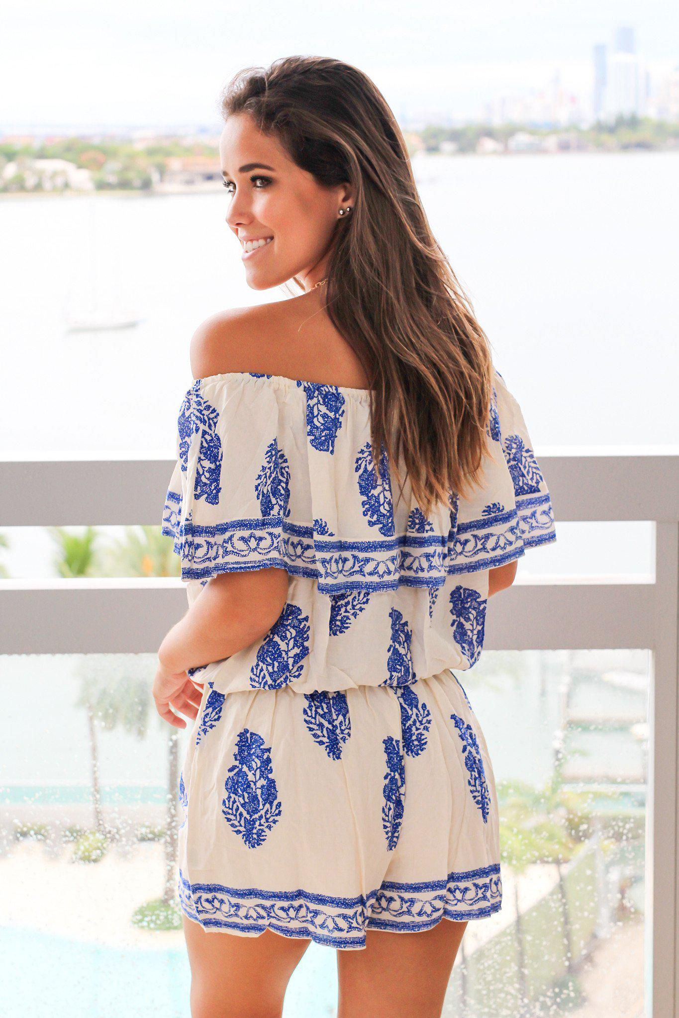 Ivory and Blue Off Shoulder Romper