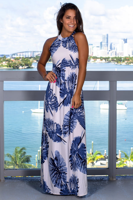 Ivory and Blue Printed Halter Neck Maxi Dress