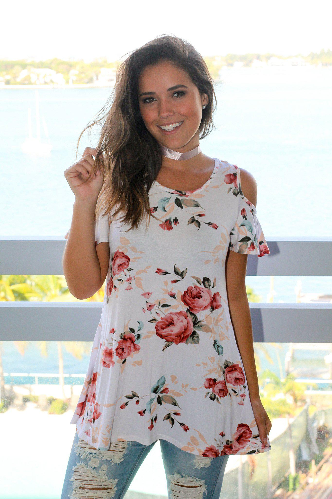 Ivory and Blush Floral Open Shoulder Top