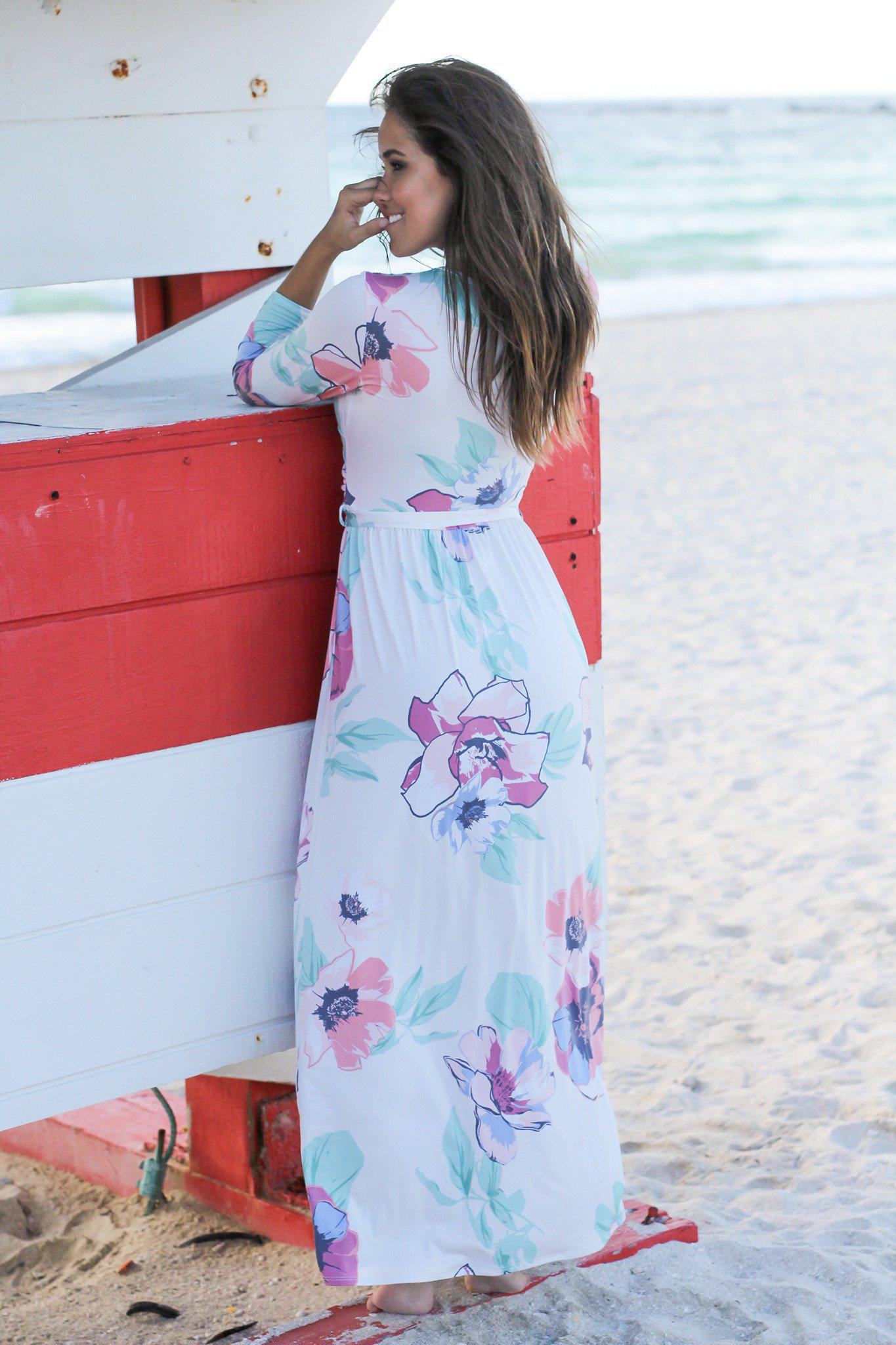 Ivory and Blush Floral Wrap Maxi Dress