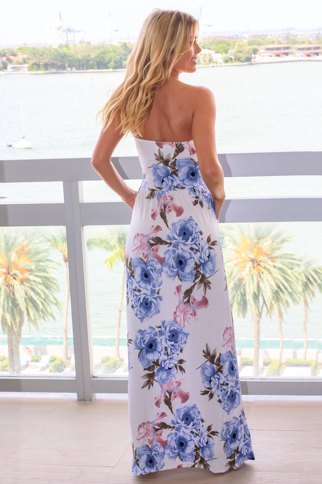 Ivory and Dusty Blue Floral Strapless Maxi Dress