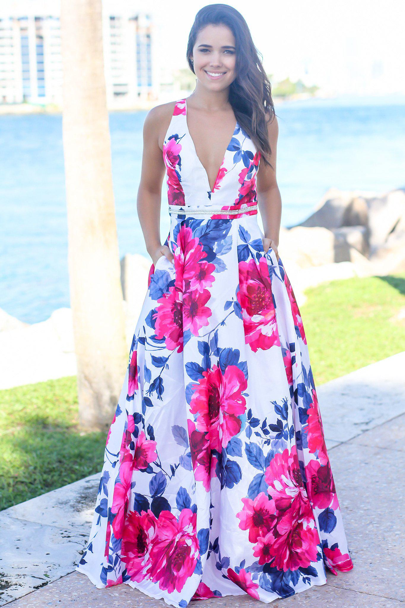 Ivory and Fuchsia Floral Maxi Dress