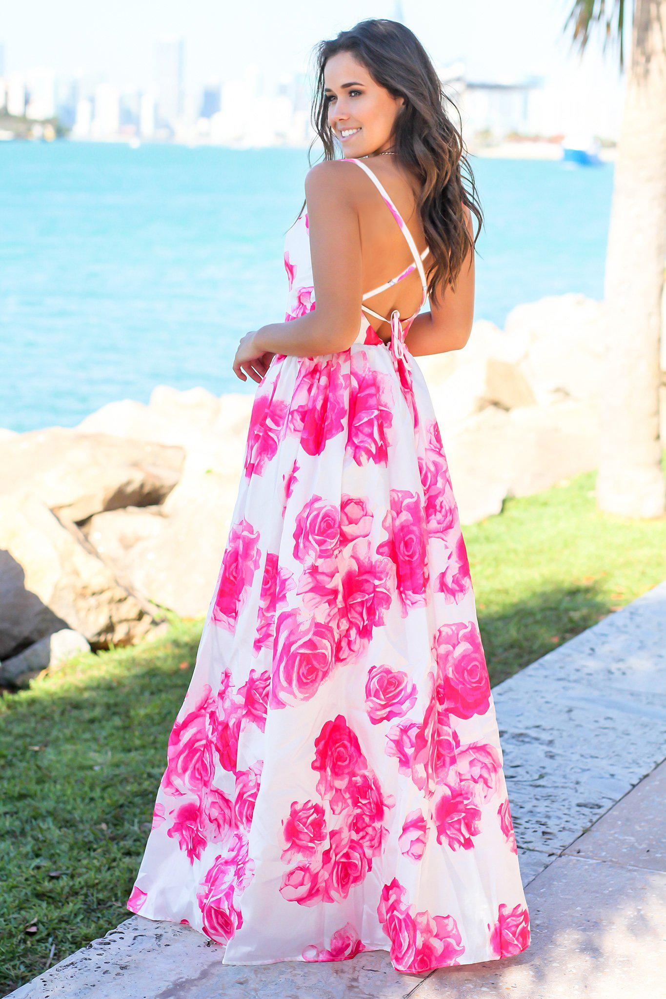Ivory and Fuchsia Floral Maxi Dress with Criss Cross Back