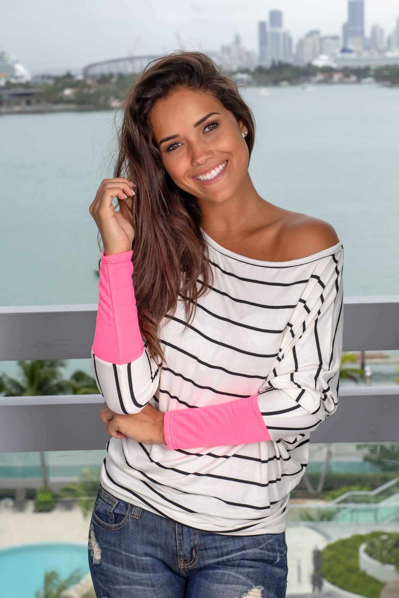 Ivory and Fuchsia Striped Top