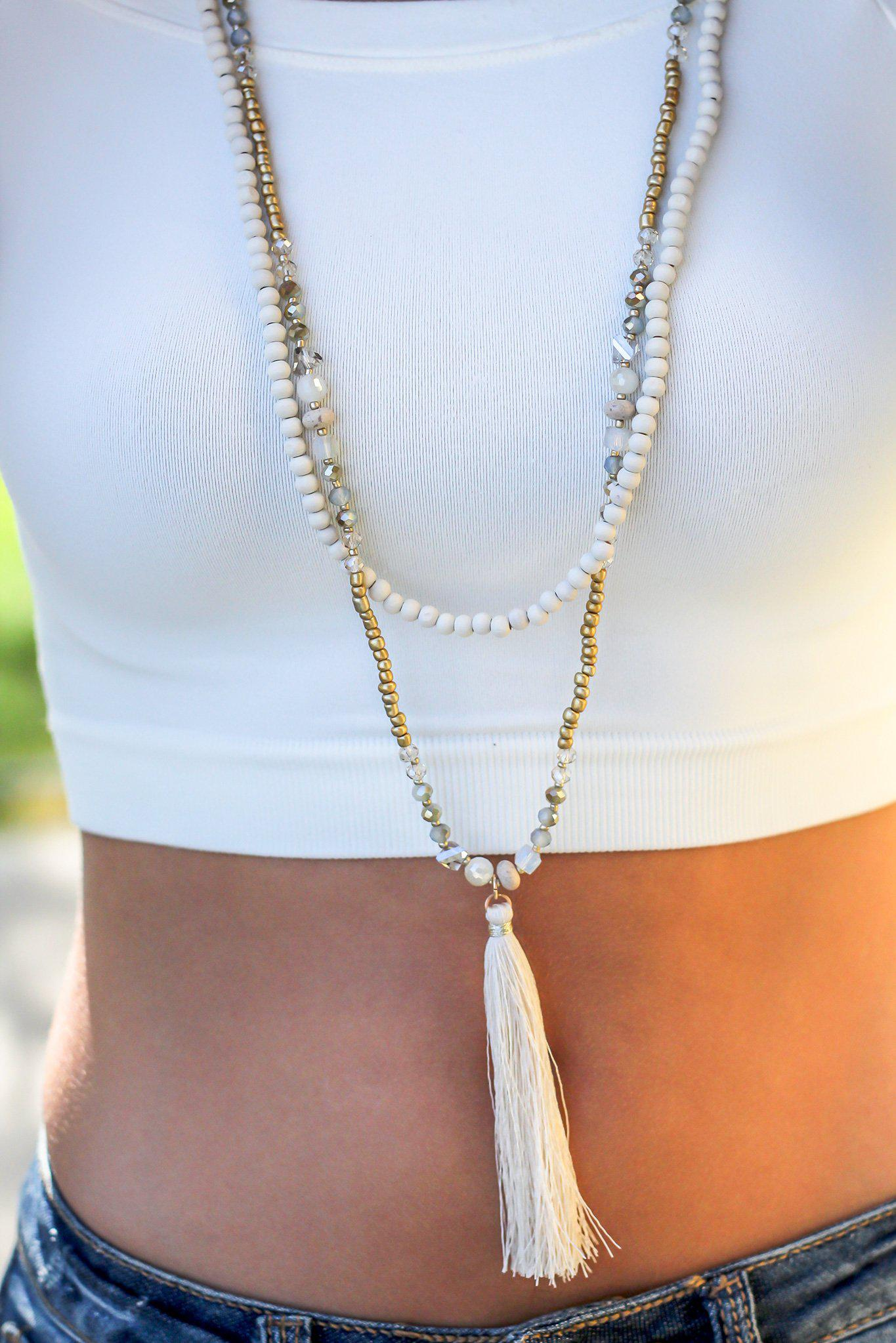 Ivory and Gold Beaded Necklace with Tassel