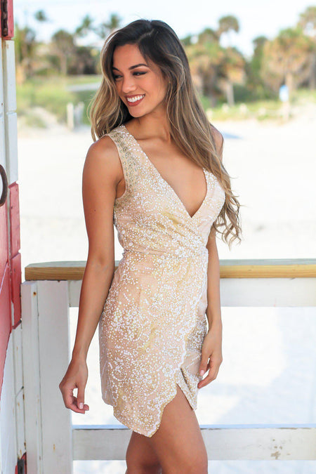 Ivory and Gold Sleeveless Short Dress