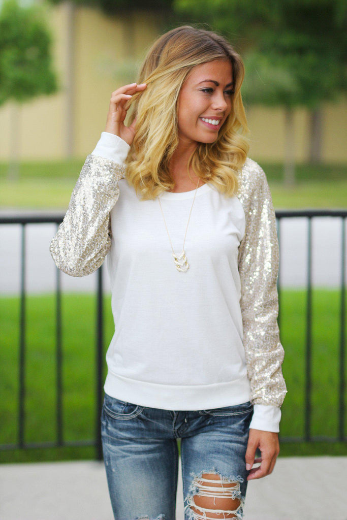 Ivory And Gold Sequined Sweatshirt