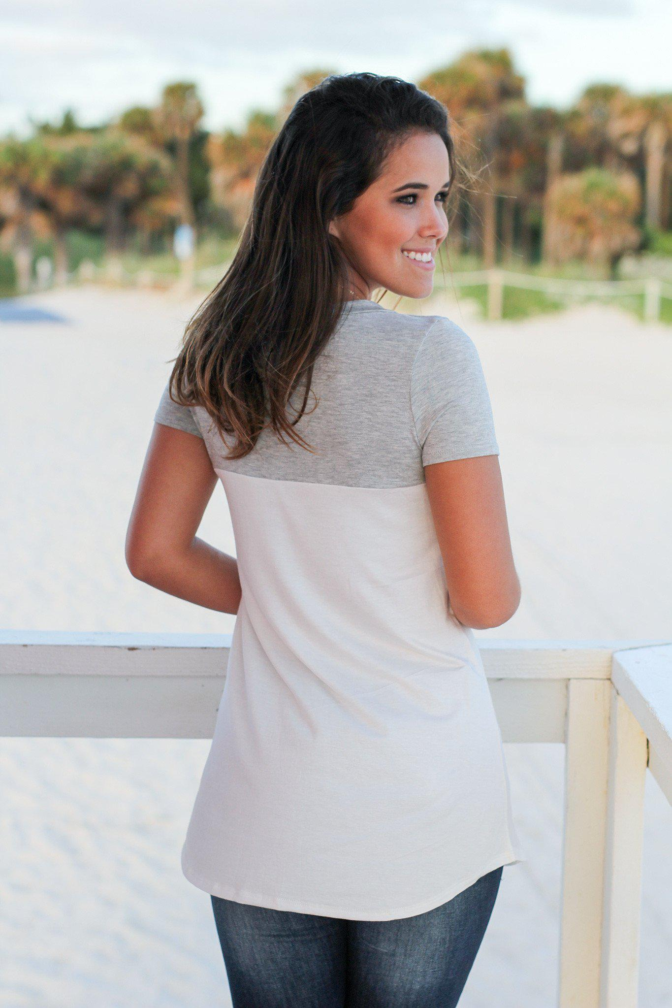 Ivory and Gray Top with Suede Pocket