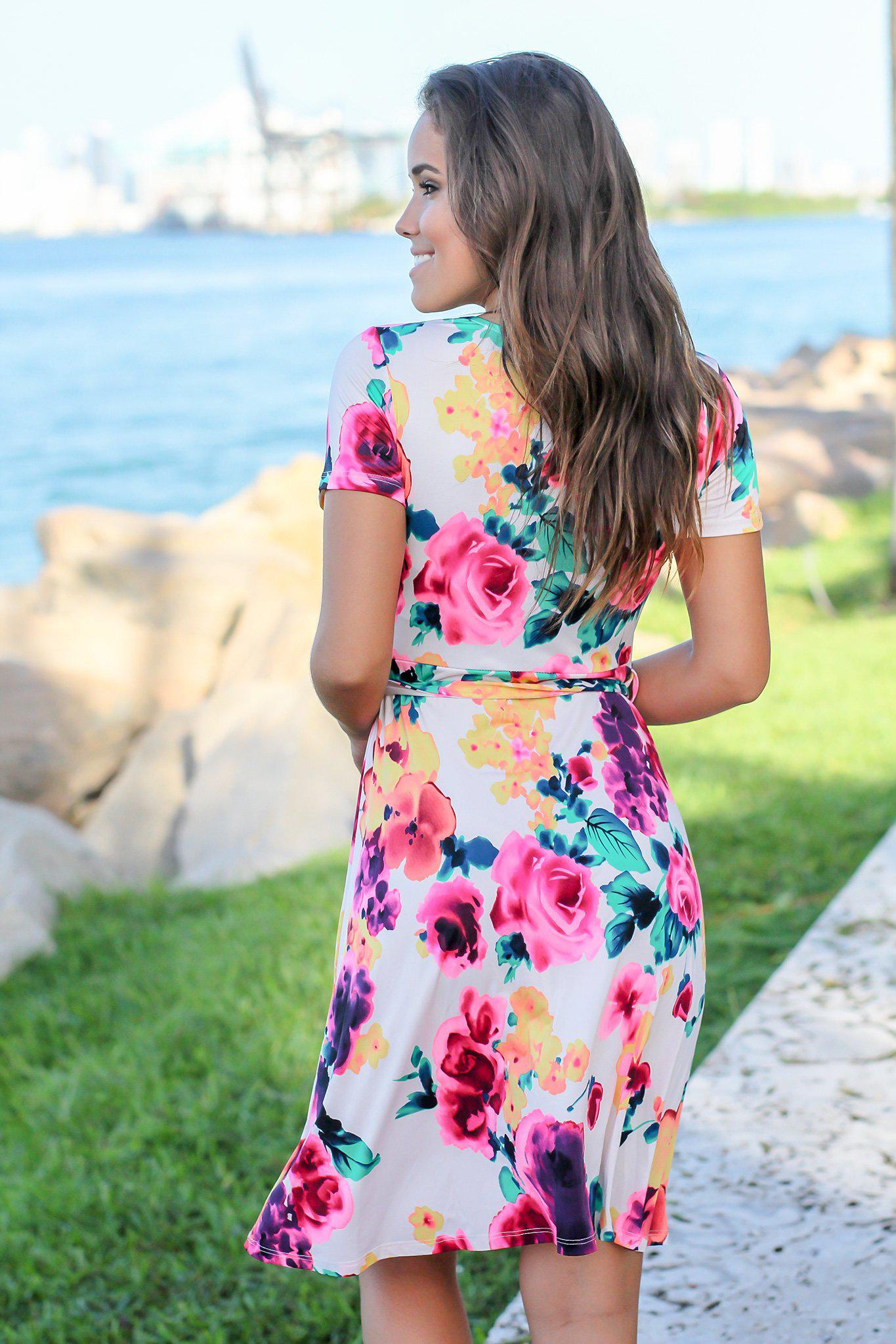 Ivory and Hot Pink Floral Short Dress