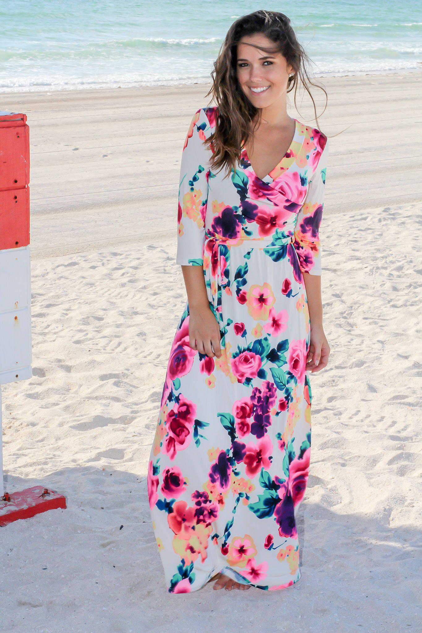 Ivory and Hot Pink Floral Wrap Maxi Dress