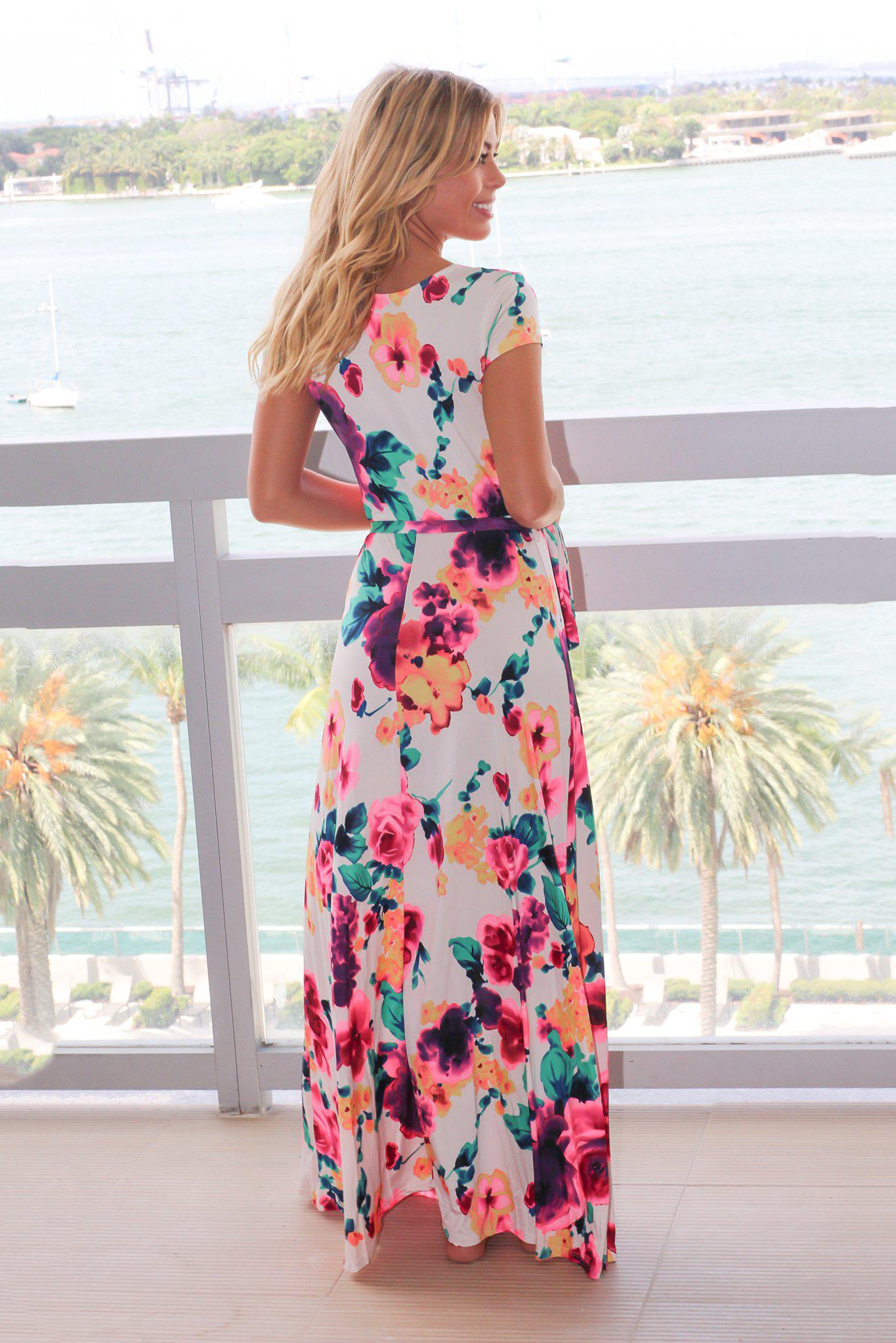 Ivory and Hot Pink Floral Wrap Maxi Dress with Short Sleeves