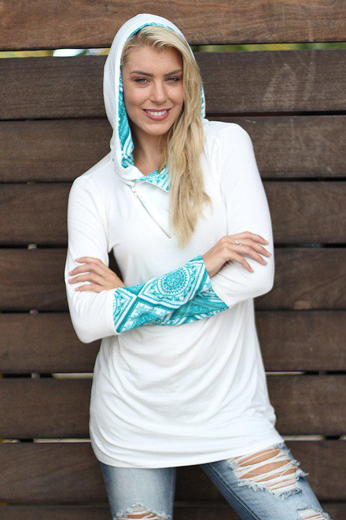 Ivory and Jade Hooded Tunic