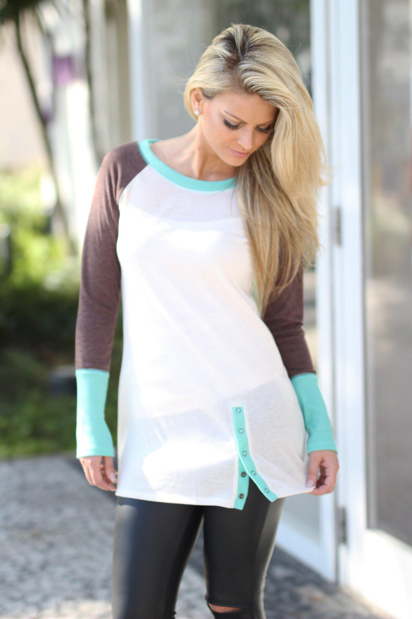 Ivory and Mint Long Sleeve Top with Buttons
