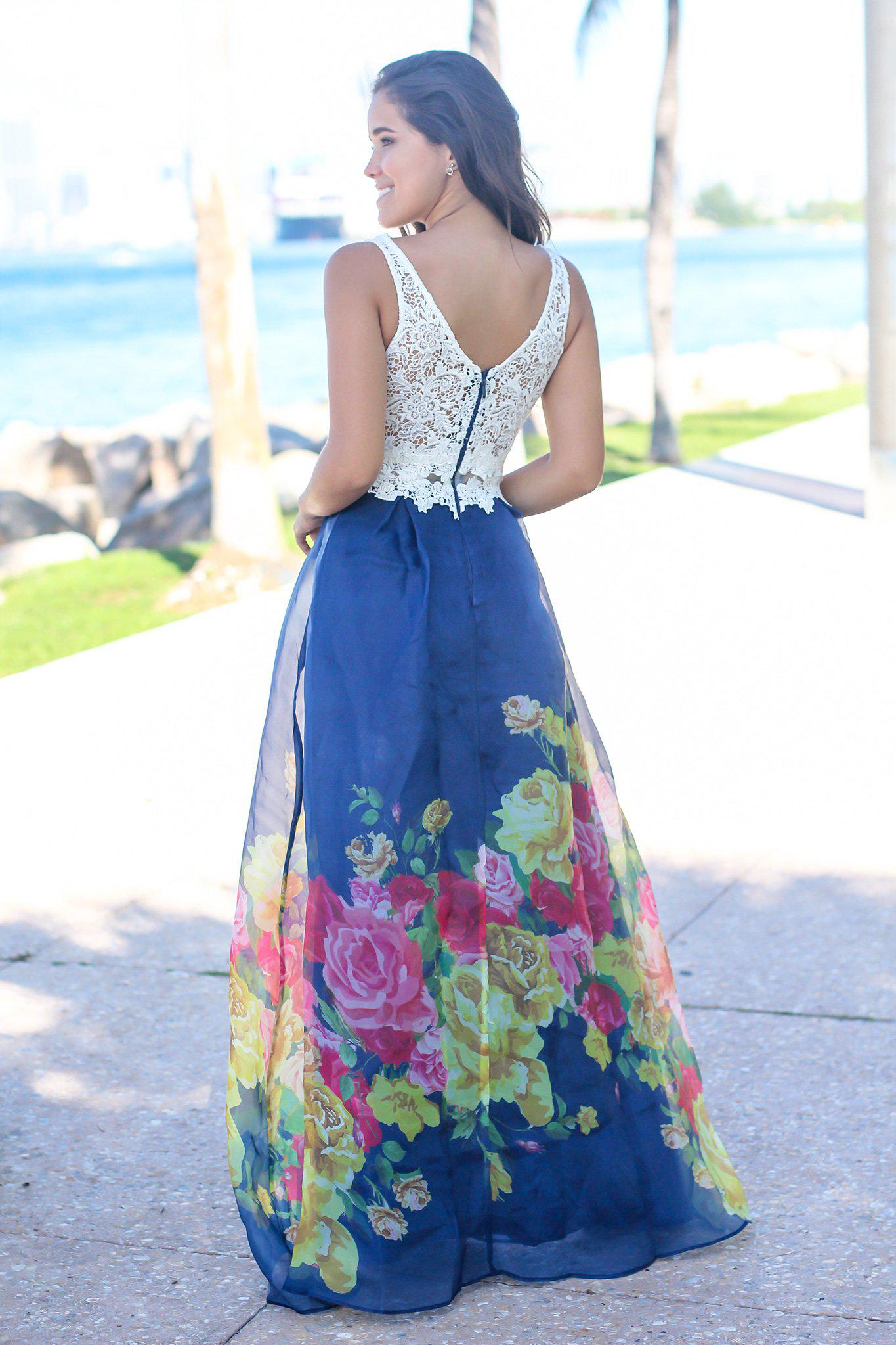 Ivory and Navy Floral Maxi Dress