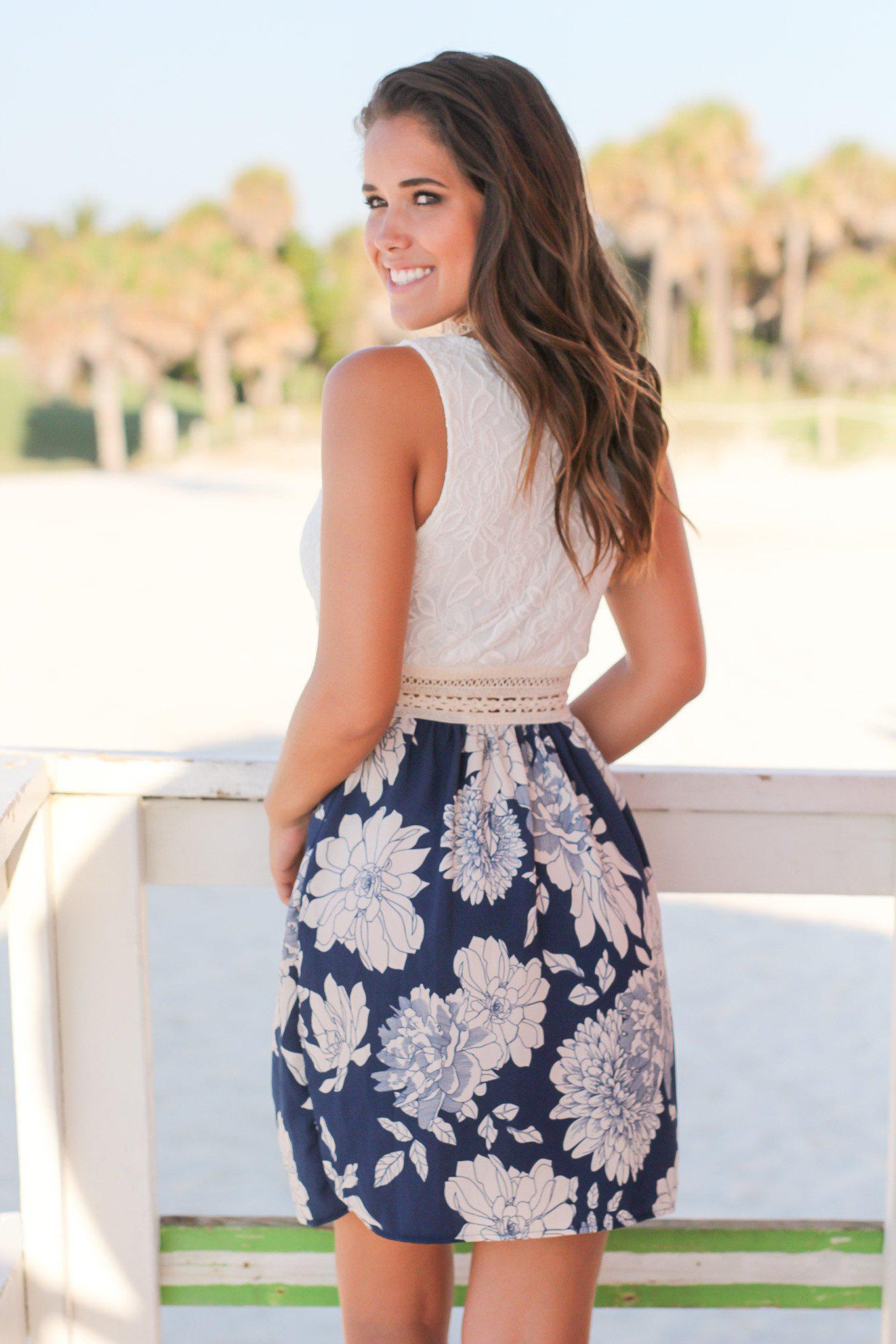 Ivory and Navy Floral Short Dress with Lace Top