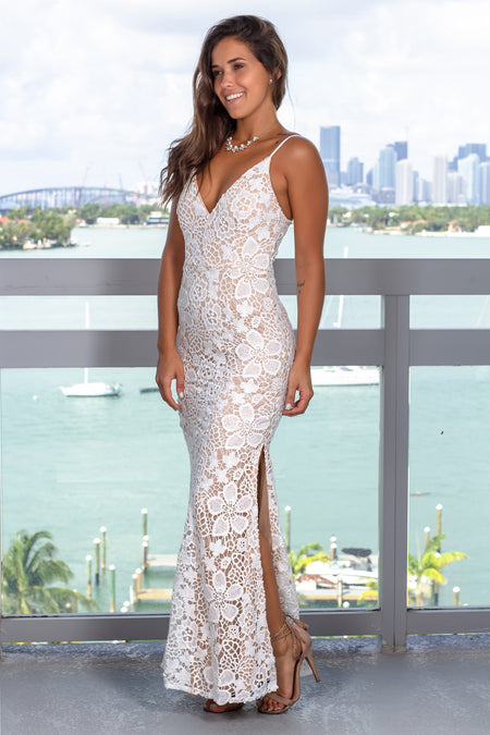 Ivory and Nude Crochet Maxi Dress