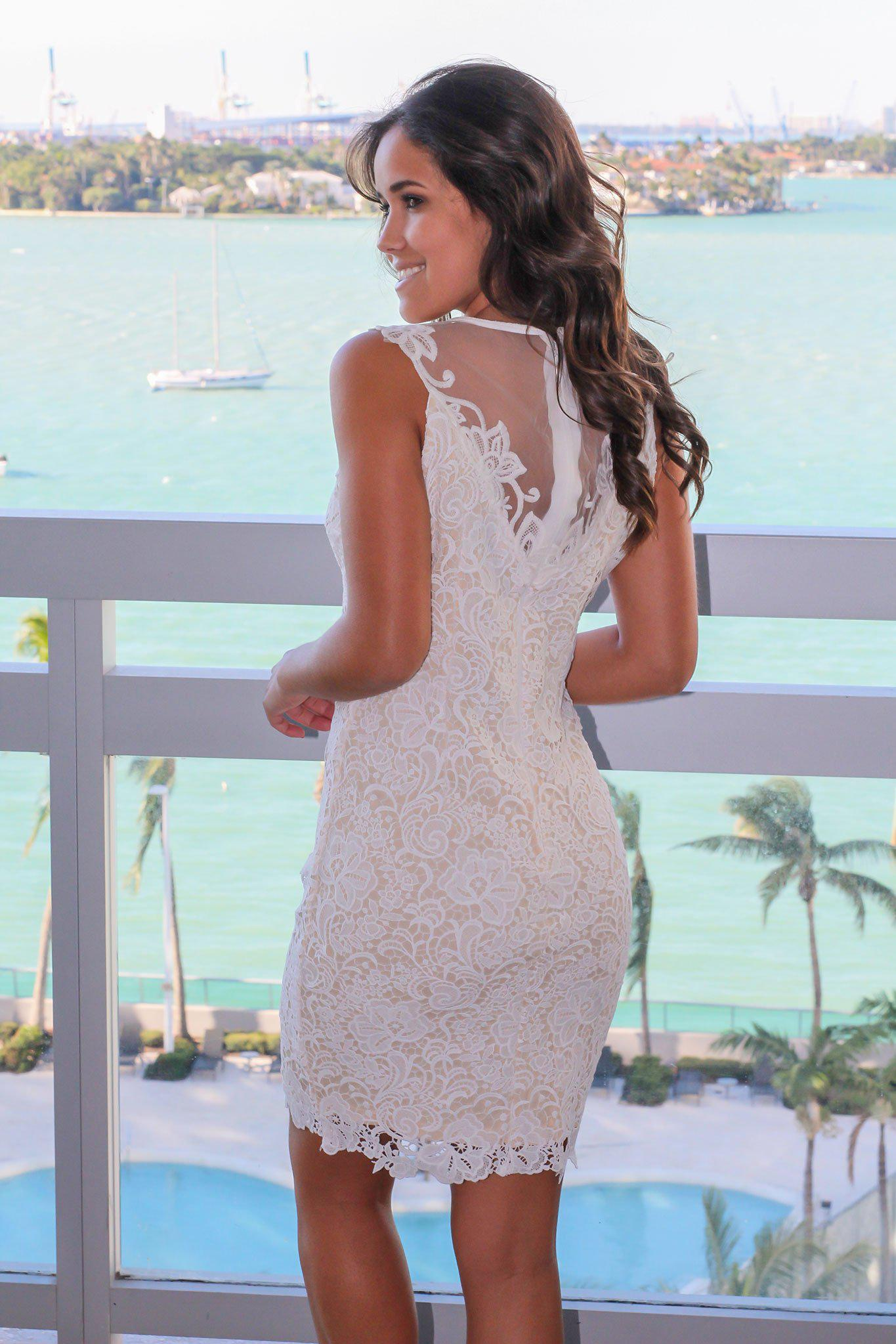 Ivory and Nude Crochet Short Dress