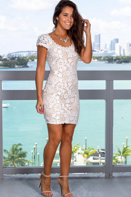 Ivory and Nude Crochet Short Dress with Sleeves