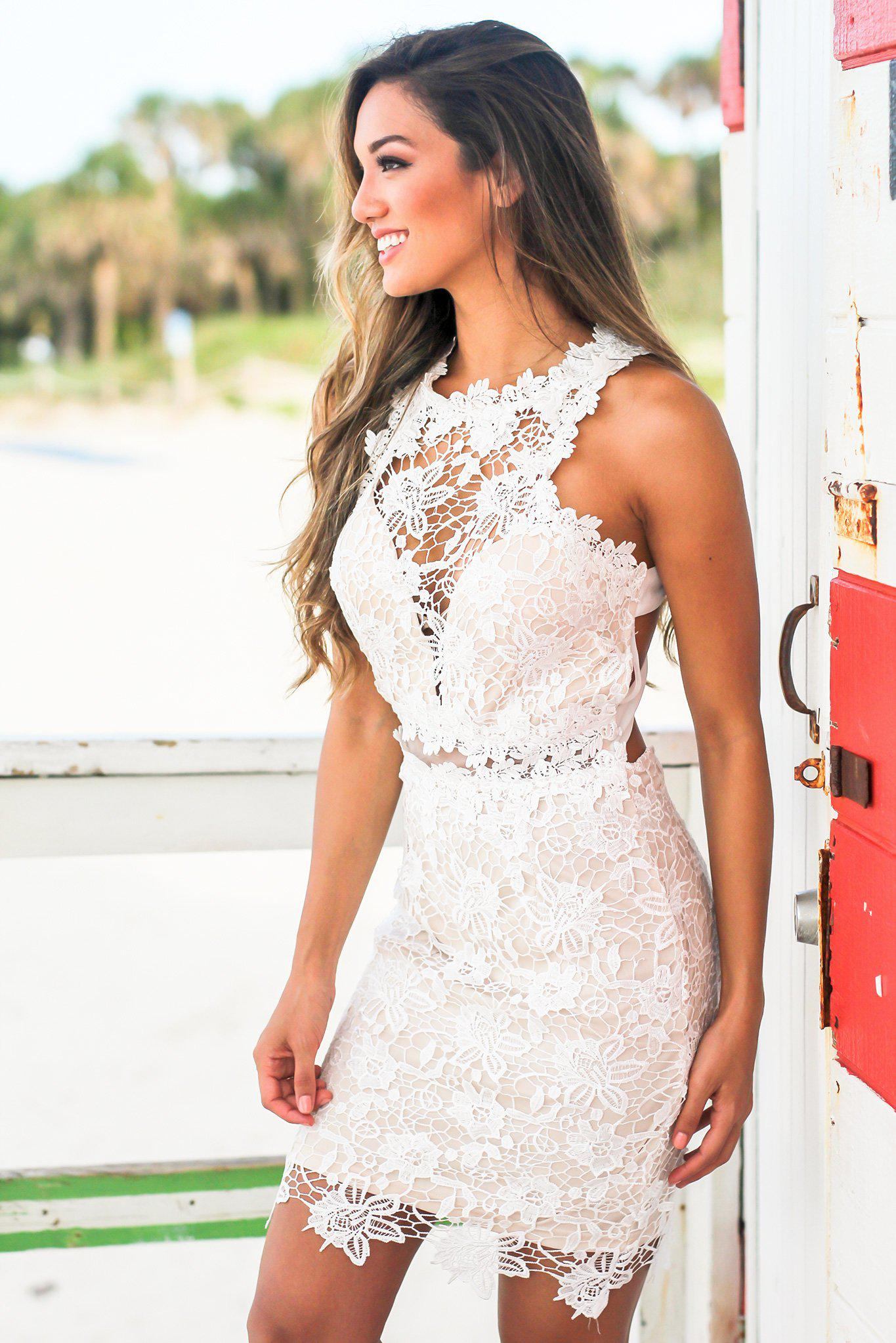 Ivory and Nude Crochet Short Dress with Strappy Back