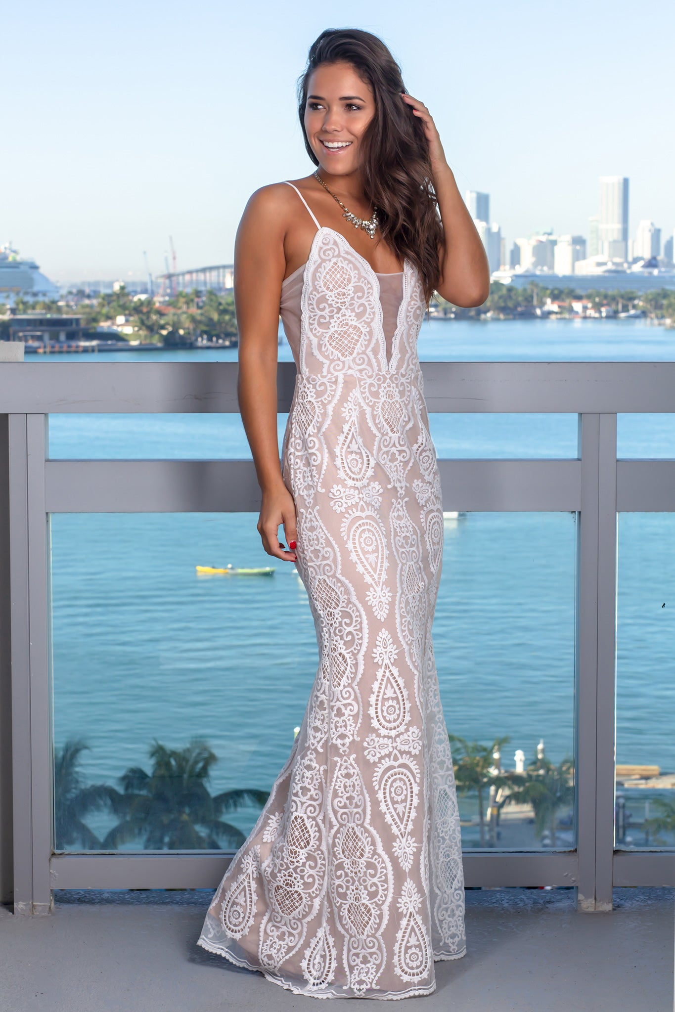 Ivory and Nude Embroidered Maxi Dress