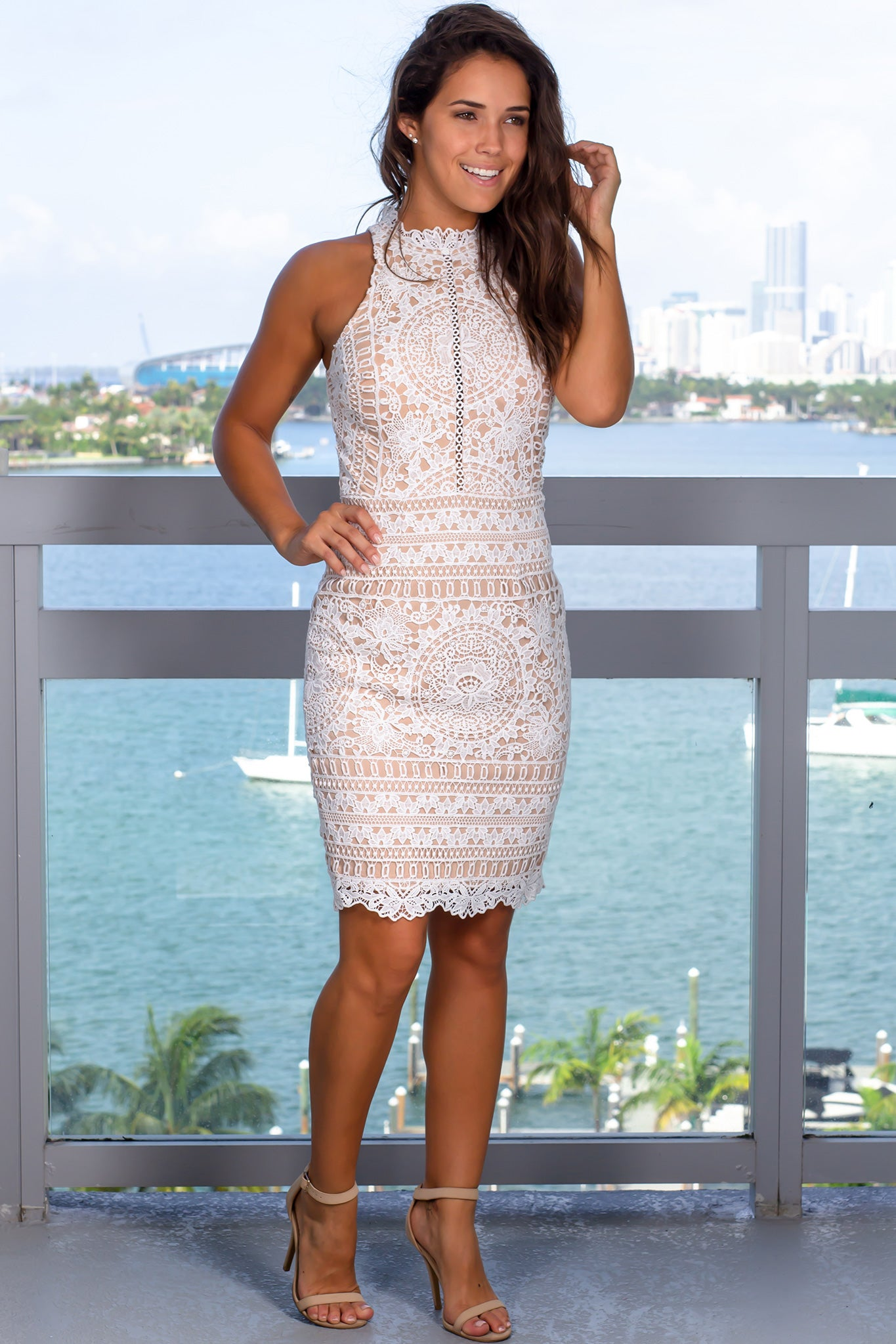 Ivory and Nude High Neck Crochet Short Dress