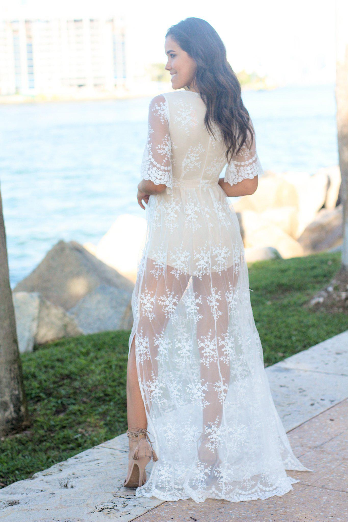 Ivory and Nude Lace Maxi Romper