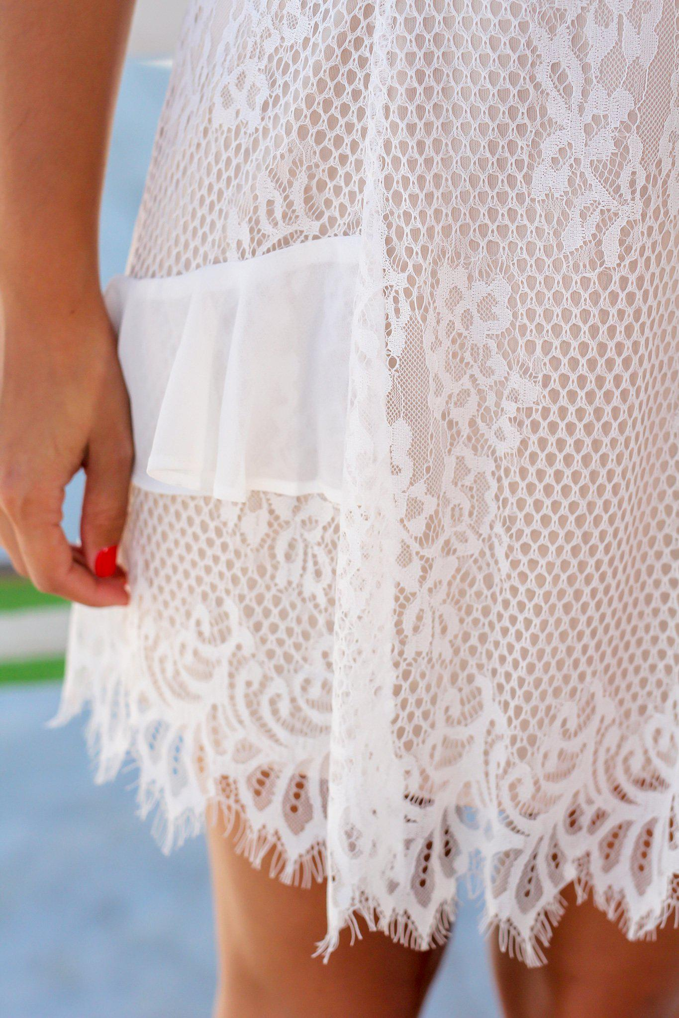 Ivory and Nude Lace Off Shoulder Short Dress with Ruffles