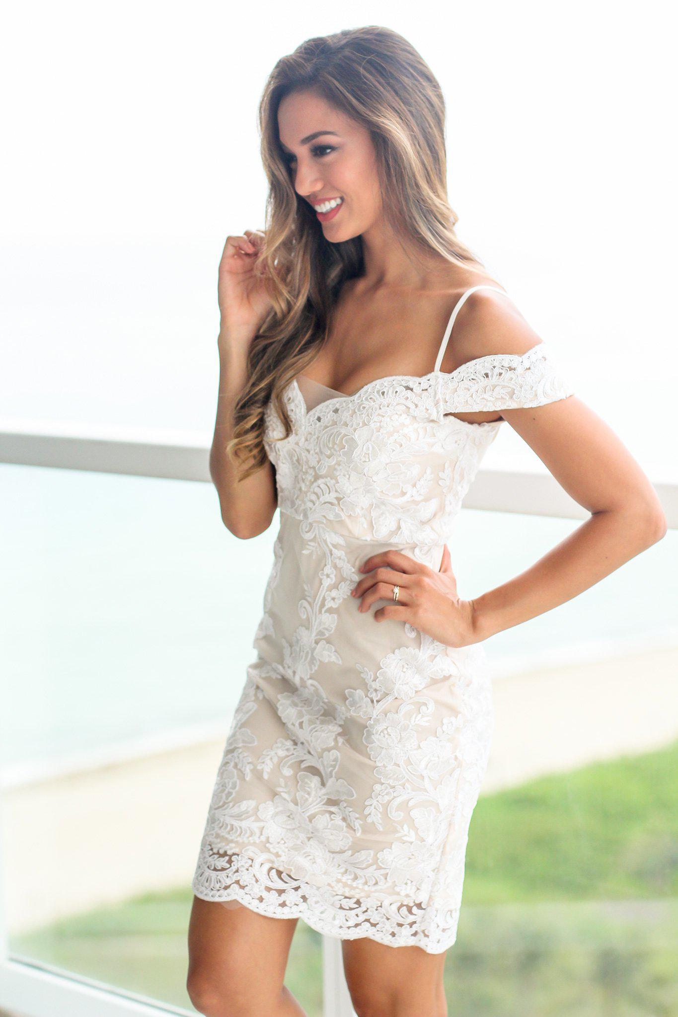 Ivory and Nude Off Shoulder Embroidered Short Dress
