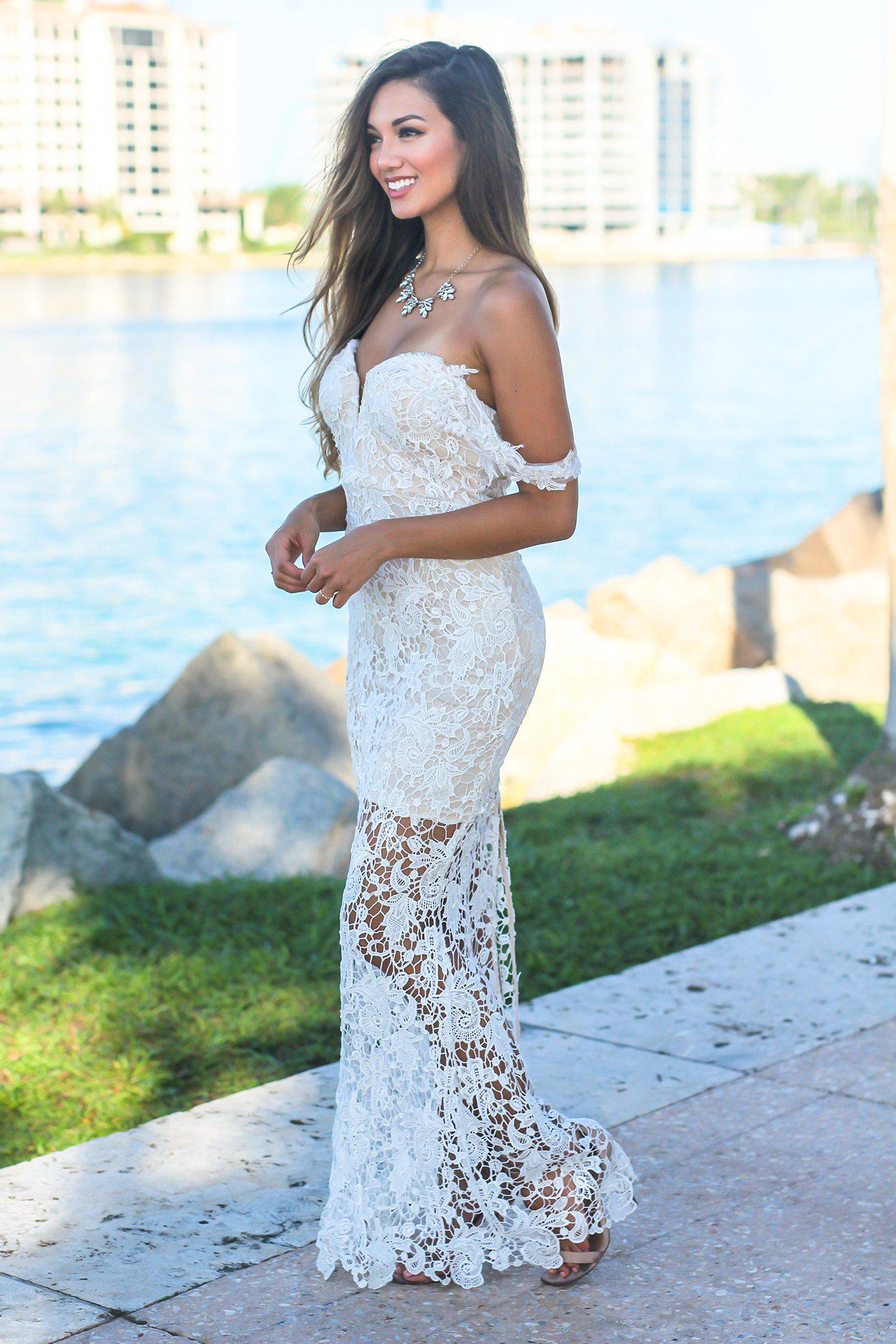Ivory and Nude Off Shoulder Maxi Dress