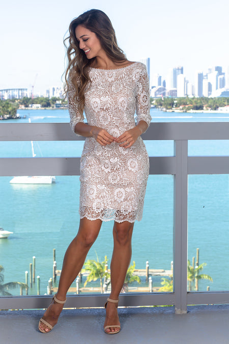 Ivory and Nude Short Dress with 3/4 Sleeves