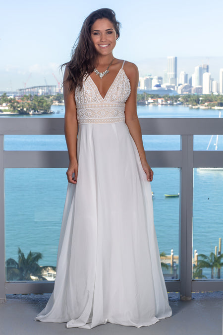 Ivory and Nude V-Neck Embroidered Top Maxi Dress