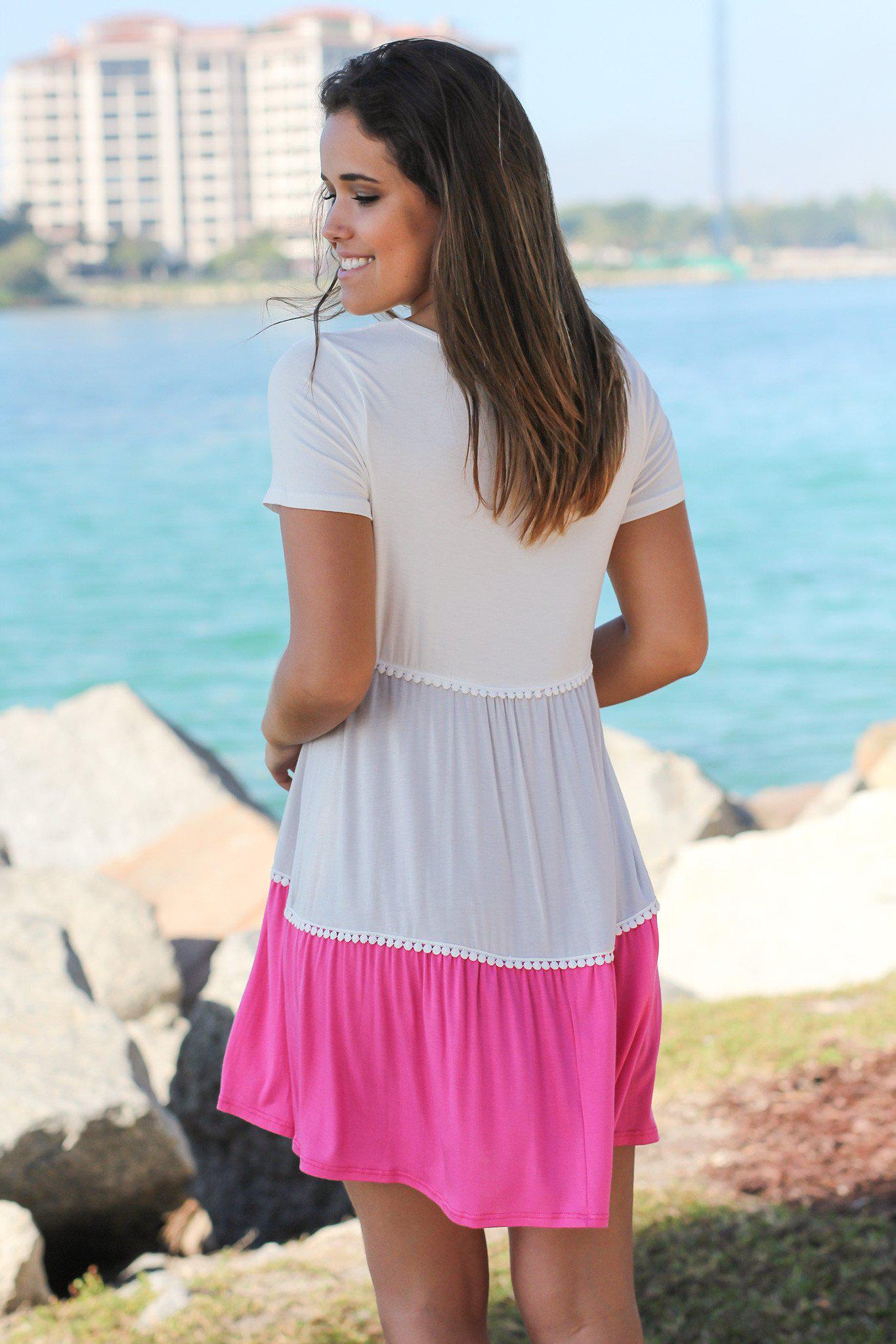 Ivory and Pink Color Block Short Dress