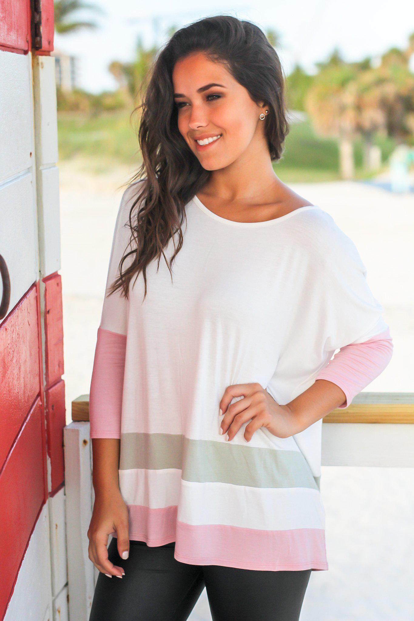 Ivory and Pink Color Block Top with 3/4 Sleeves