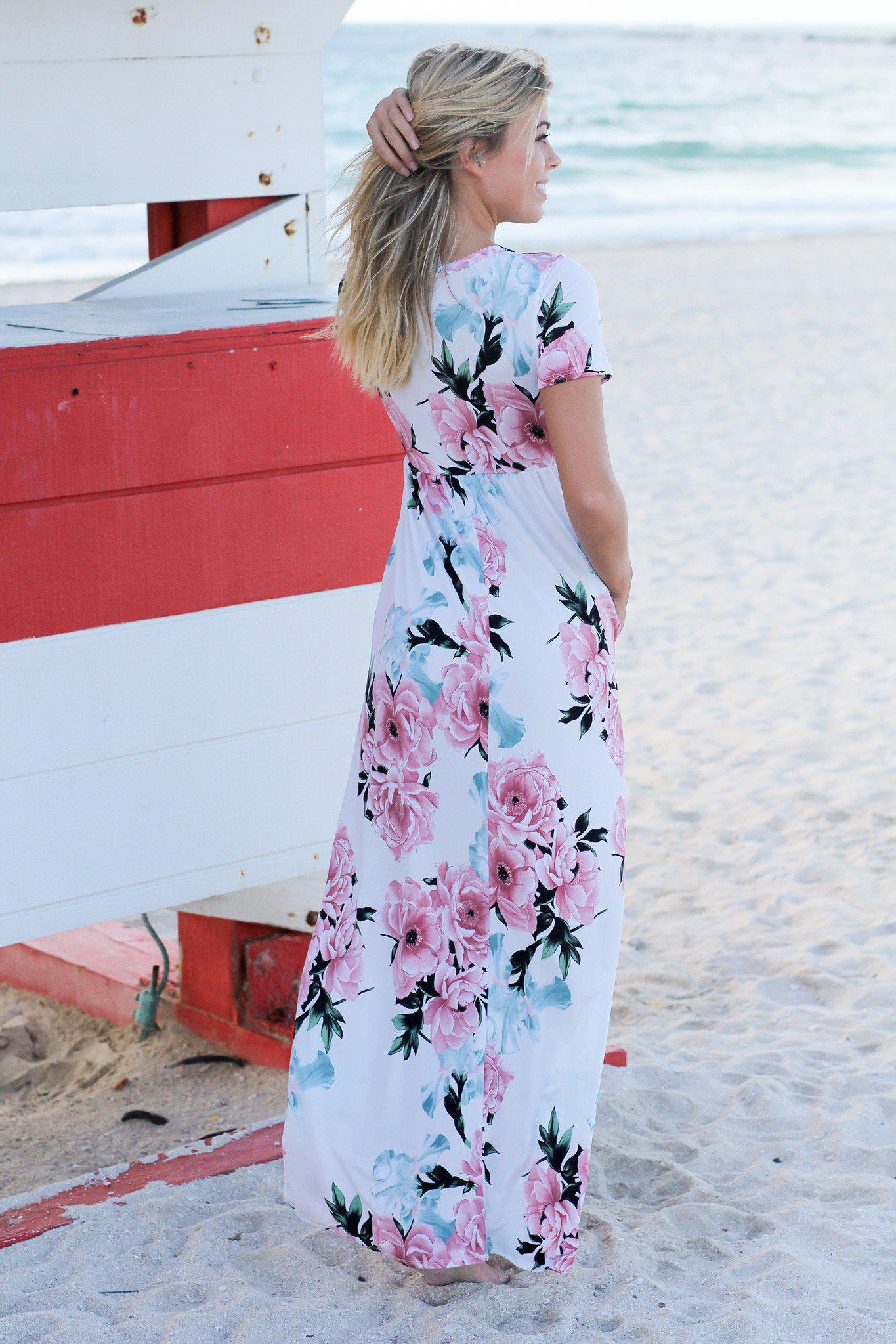 Ivory and Pink Floral Maxi Dress with Short Sleeves