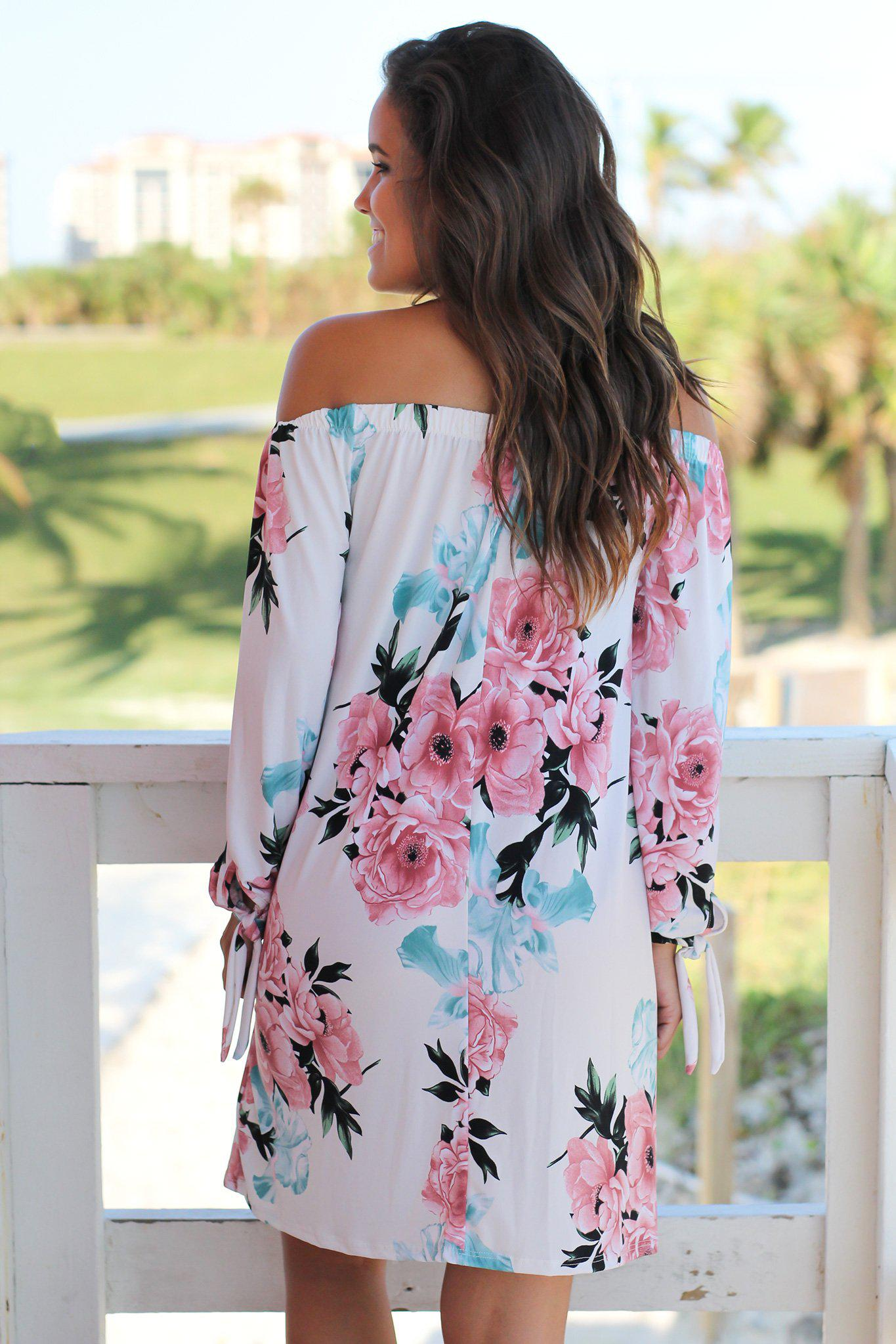 Ivory and Pink Floral Off Shoulder Short Dress