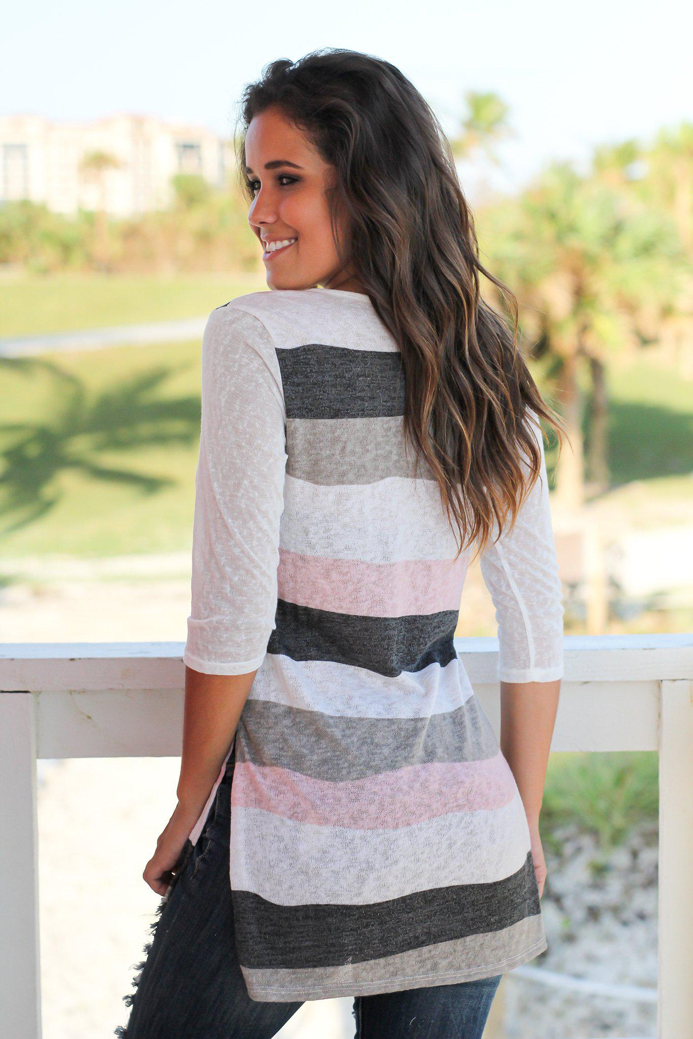 Ivory and Pink Striped V-Neck Top