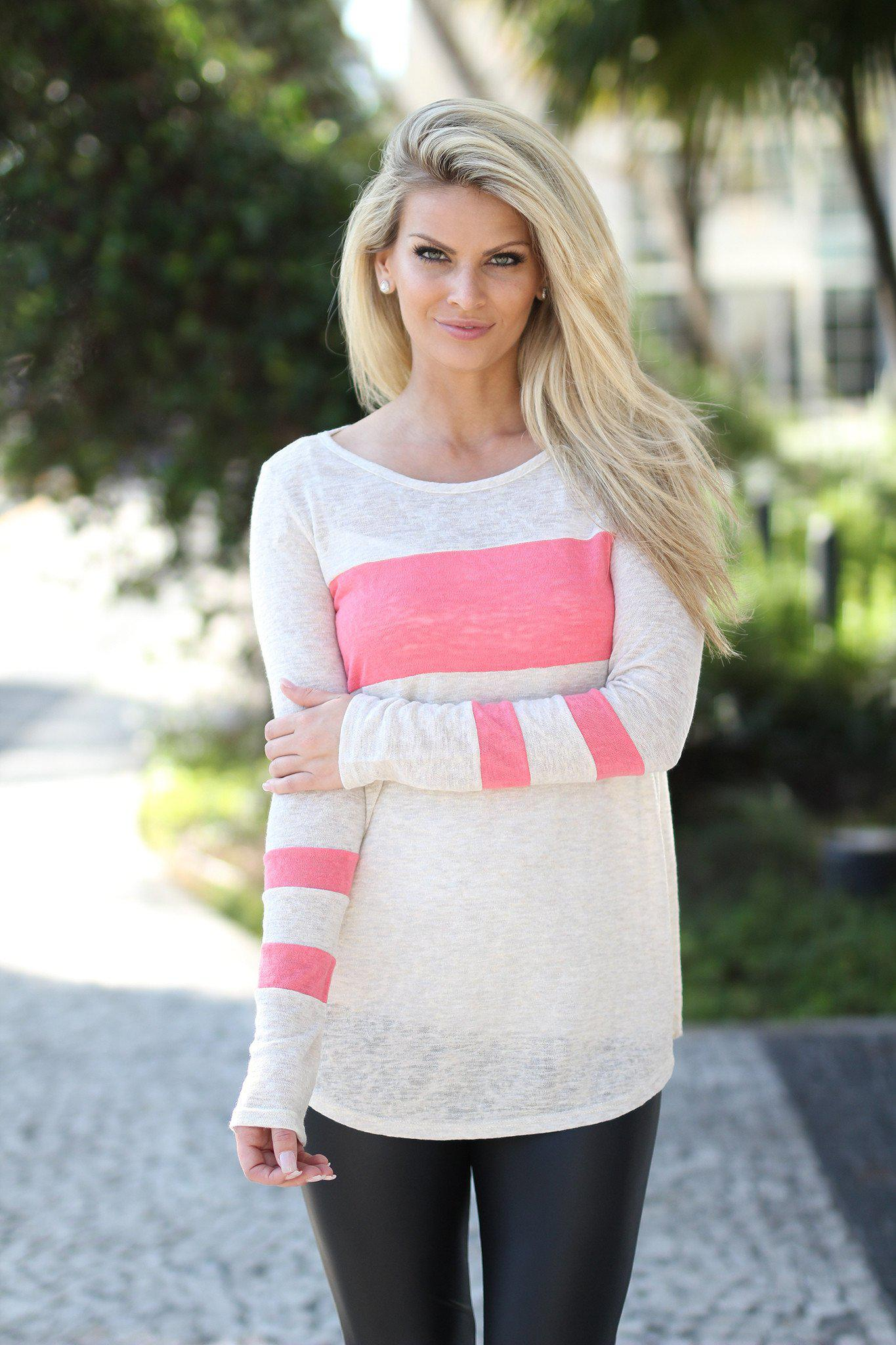 Ivory and Pink Top