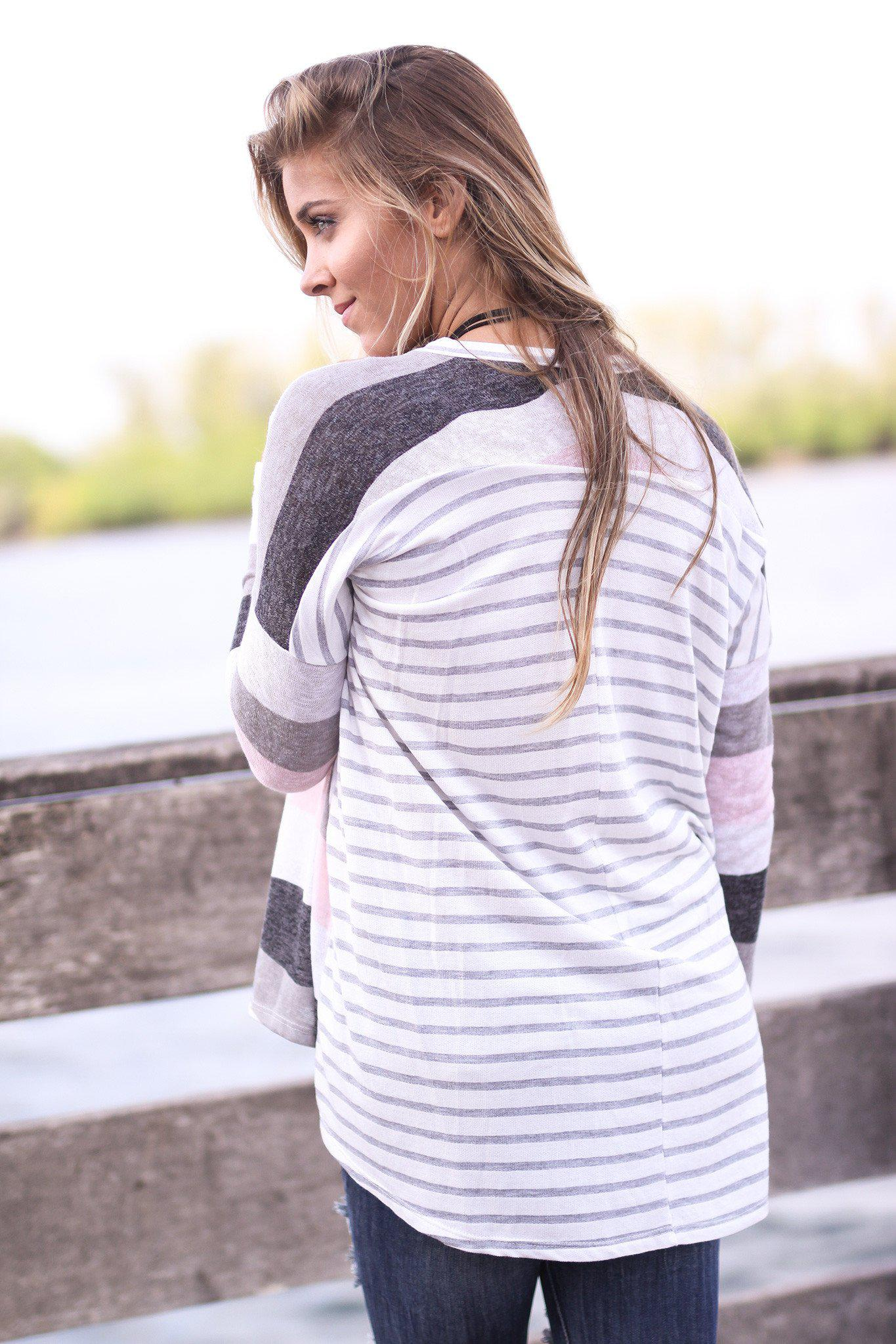 Ivory and Pink Top with Striped Back