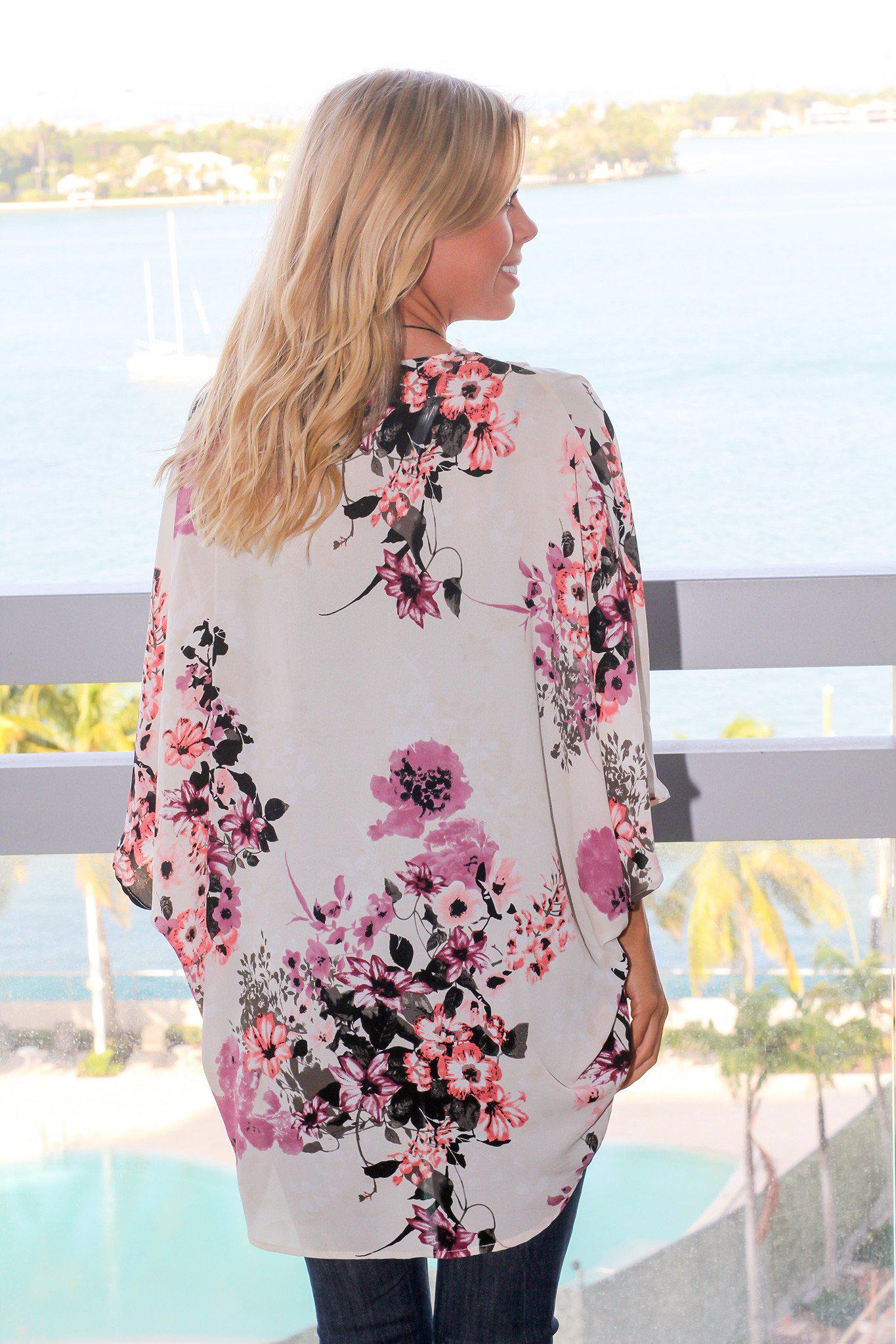 Ivory and Purple Floral Kimono
